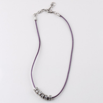 Leather Necklace In Berry ( N1686 )