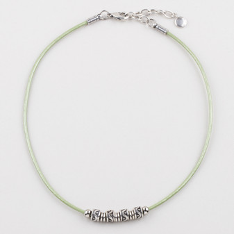 Lime Green Leather Necklace ( N1684 )