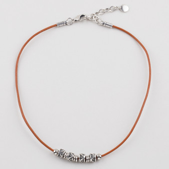 Orange Leather Necklace ( N1674 )