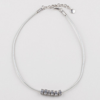 Silver Leather Necklace ( N1696 )