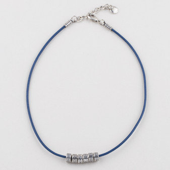 Blue Leather Necklace (N1690 )