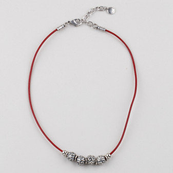 Red Leather Necklace  ( N1733 )