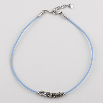 Baby Blue Leather Necklace.