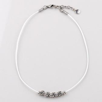 Dakota White Leather Necklace ( N1726 )