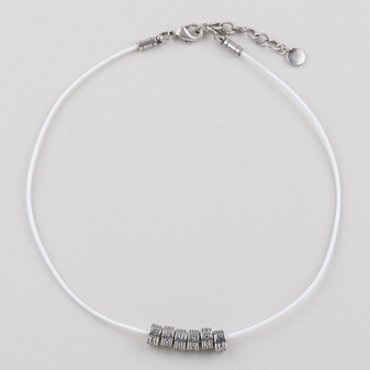 White Leather Necklace  ( N1734 )