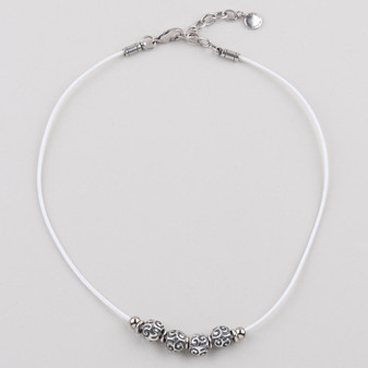 Edie White Leather Necklace  ( N1730 )