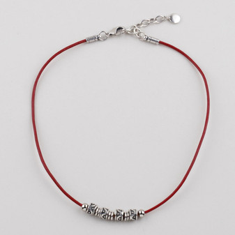 Dakota Red Leather Necklace ( N1729)