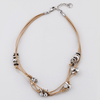Tan Leather Necklace  (N1573 )