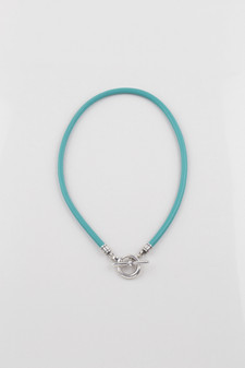 Turquoise Blue Leather Necklace
