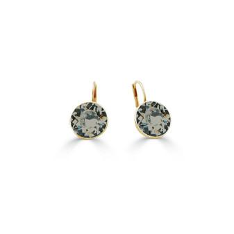 18ct Gold-Plated Black Diamond Bold Glam Rock Earrings