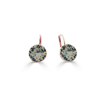 18ct Rose Gold-plated Black Diamond Bold Glam Rock Earring