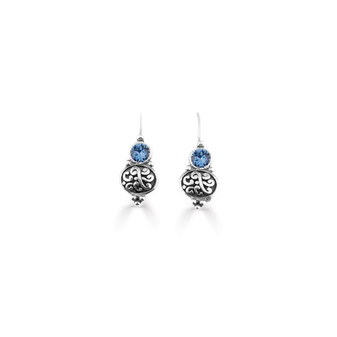 Denim Blue Amour Drop Earrings  ( E4746 )