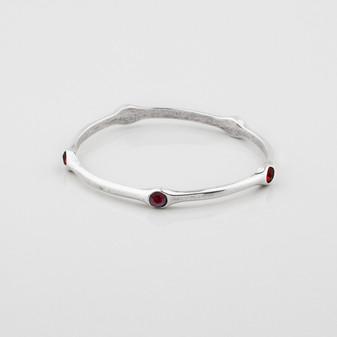 Burnished silver bangle with siam Swarovski® Crystals