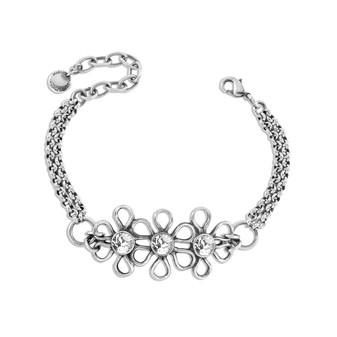 Cosmos Bracelet - Burnished Silver / Flower Link Bracelet / Swarovski Crystal / Boho / Floral Jewellery / Gift Ideas