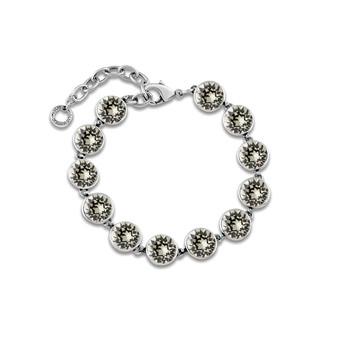 Black Diamond A-list Bracelet - Burnished Silver / Adjustable Bracelet / Swarovski Crystal / Tennis Bracelet / Elegant / Gift Ideas