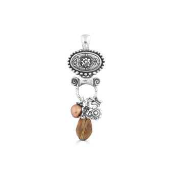 Enchanted Garden Pendant - Burnished Silver / Swarovski Crystal / Semi-precious Stones Bronze Pearl Flower charms / Pearl Jewellery / Handmade / Elegant / Gifts For Her