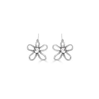 Cosmos Drop Earrings - Burnished Silver / Flower Earrings / Swarovski Crystal /  Boho / Floral Jewellery / Gift Ideas