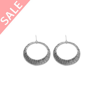 Burnished Silver Textured Tribal Earrings / Detachable French Wire - VALUED AT R399