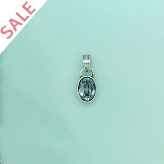 Burnished Silver Indian Sapphire Oval Enhancer / Swarovski Crystal - VALUED AT R299