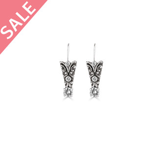 Burnished Silver Crystal Filigree Drop Earrings / Swarovski Crystal / Detachable French Wire - VALUED AT R399