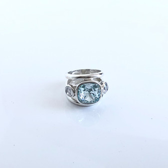 Summertime Blue Light Azure Sterling Silver Ring
