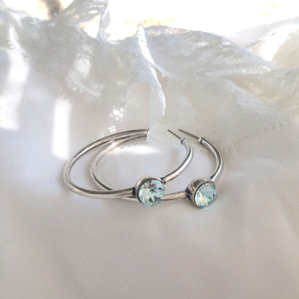 Neptune Light Azure Hoop Earrings