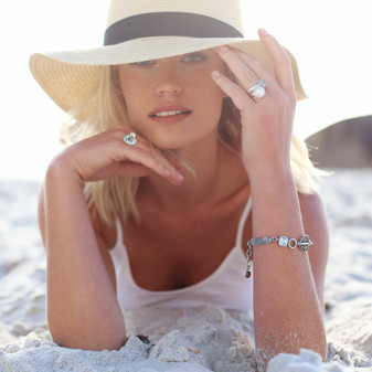 Wanderlust Bracelet - B1610 19cm - R699 Urban Zen Pearl Ring - RR176 - R1299 Shimmy Beach Sterling Silver Ring - RR438 - R1799