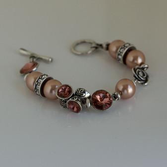 Burnished Silver Rose Pearl Bracelet