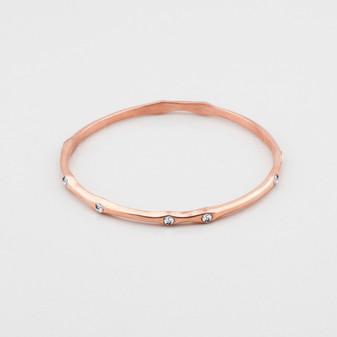 Petite rose gold plated bangle embellished with Swarovski® Crystals