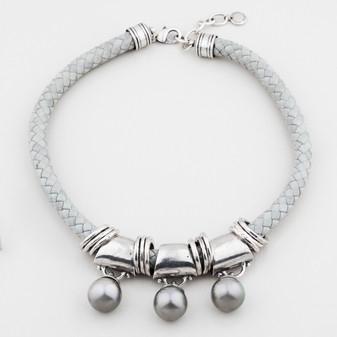 Tribal woven leather necklace in cool grey with sultry grey-blue shell pearls and eclectic burnished silver rings - 40 cm plus extender/ 45 cm plus extender