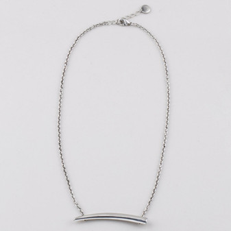 Fine link chain necklace in burnished silver plating.