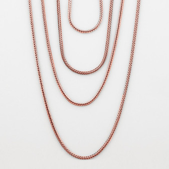 Sleek snake chain in burnished bronze plating. S: 45 cm | M: 55 cm | L: 70 cm | XL: 90 cm