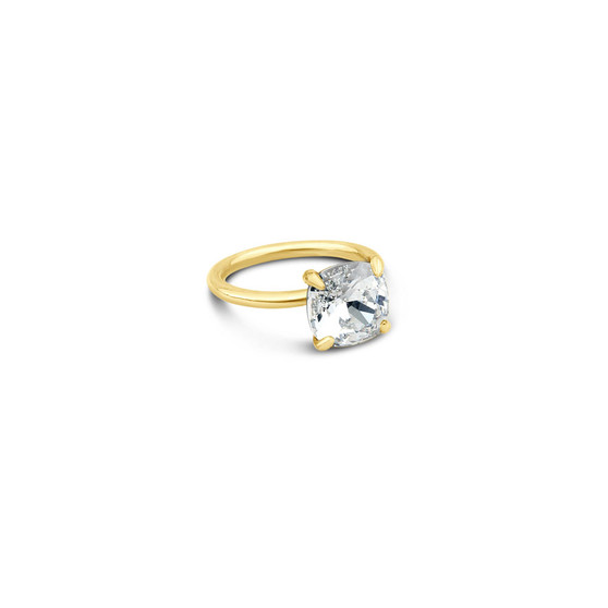 Cushion-Cut Cubic Zirconia Stackable Ring in 9ct Gold (FINE JEWELLERY)