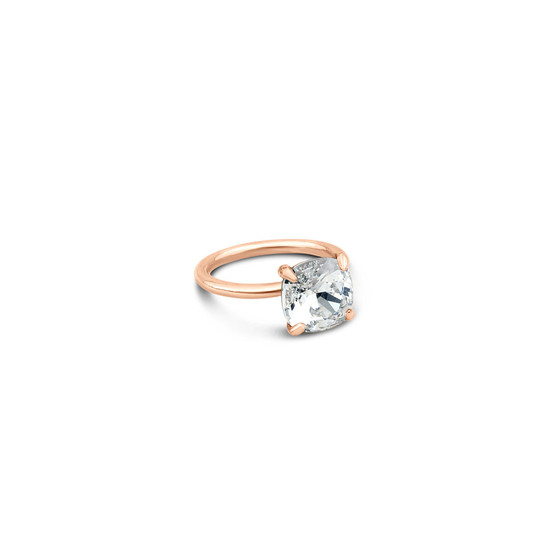 Cushion-Cut Cubic Zirconia Stackable Ring in 9ct Rose Gold (FINE JEWELLERY)