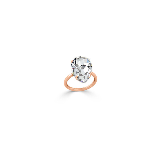 Pear Cubic Zirconia Stackable Ring in 9ct Rose Gold (FINE JEWELLERY)