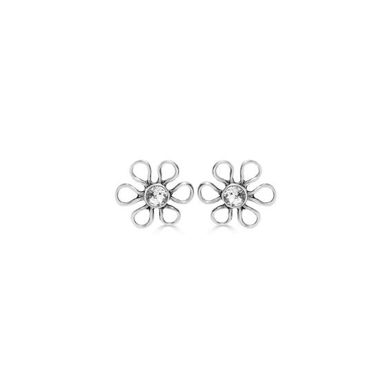 Cosmos Stud Earrings - Burnished Silver / Flower Stud Earrings / Swarovski Crystal /  Floral Jewellery / Gift Ideas