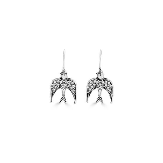 Love Birds Drop Earrings - Burnished Silver / Handmade / Bird Earrings / Gifts For Her / Bird  Lovers Jewellery / Gift Ideas