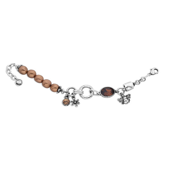 Enchanted Garden Bracelet - Burnished Silver / Swarovski Crystal / Bronze Pearls / Flower charm / Bee Charm / Pearl Jewellery / Handmade / Botanical /  Elegant / Gifts For Her