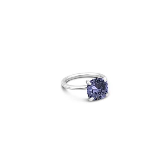 Tanzanite Starlight Cushion-Cut Ring in Sterling Silver 925