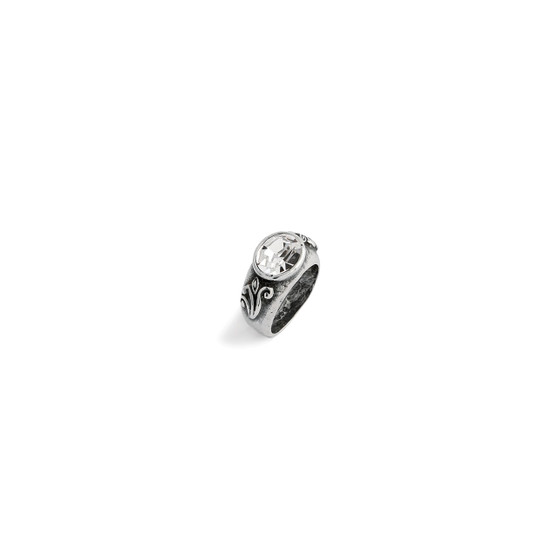 Crystal Lily Rose Oval Ring - Sterling Silver 925
