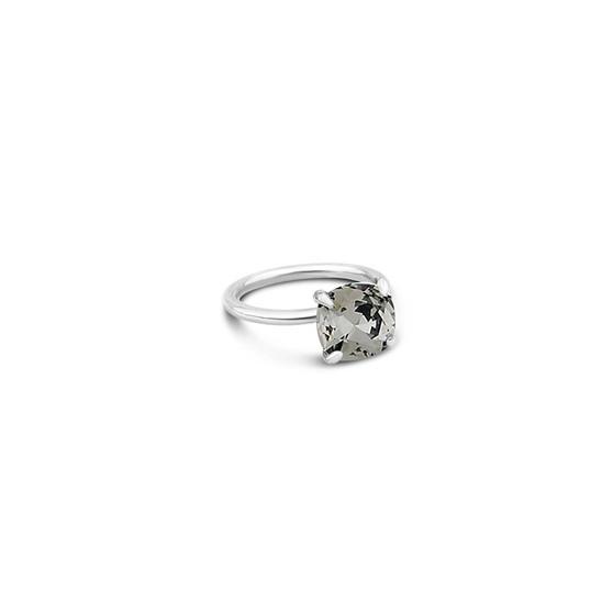Black Diamond Starlight Cushion-Cut Ring in Sterling Silver 925