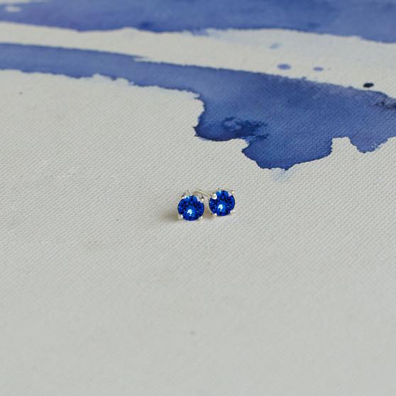 Bold Sterling Silver Sapphire Cornflower Blue Earrings