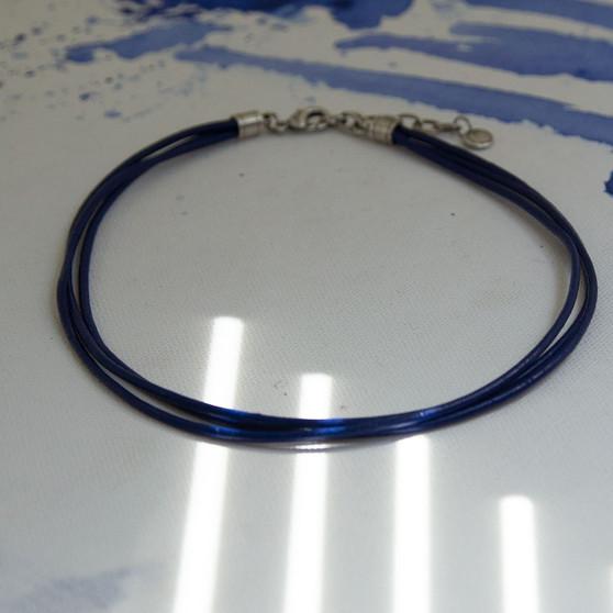 Manila Dark Blue Leather Necklace
