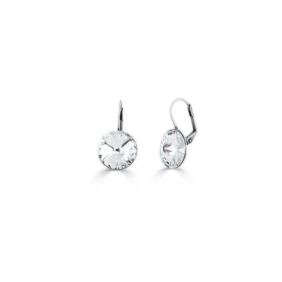 Petite Temptation Drop Earrings (E2846)  • Miglio burnished silver • 12mm rivoli Swarovski® crystal • lever back fastening • hypoallergenic