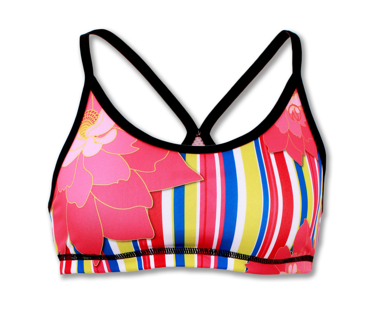 b6bfdc165d2bb Women s Sports Bra with Stripes and Pink Peony Design