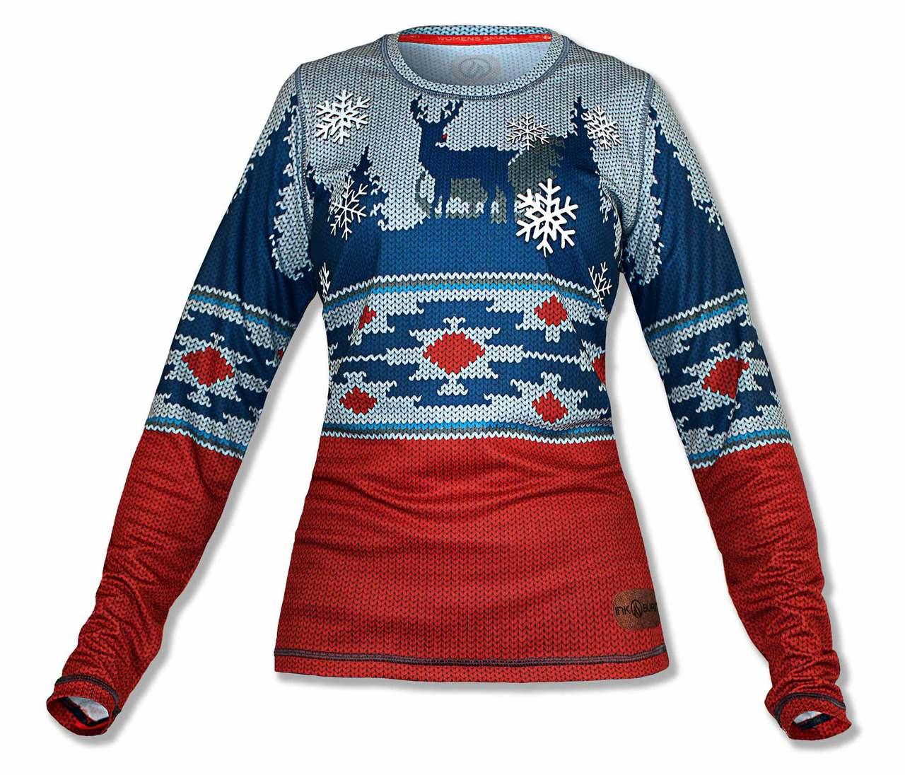 2cd66540 INKnBURN Women's 2018 Holiday Sweater Tech Shirt