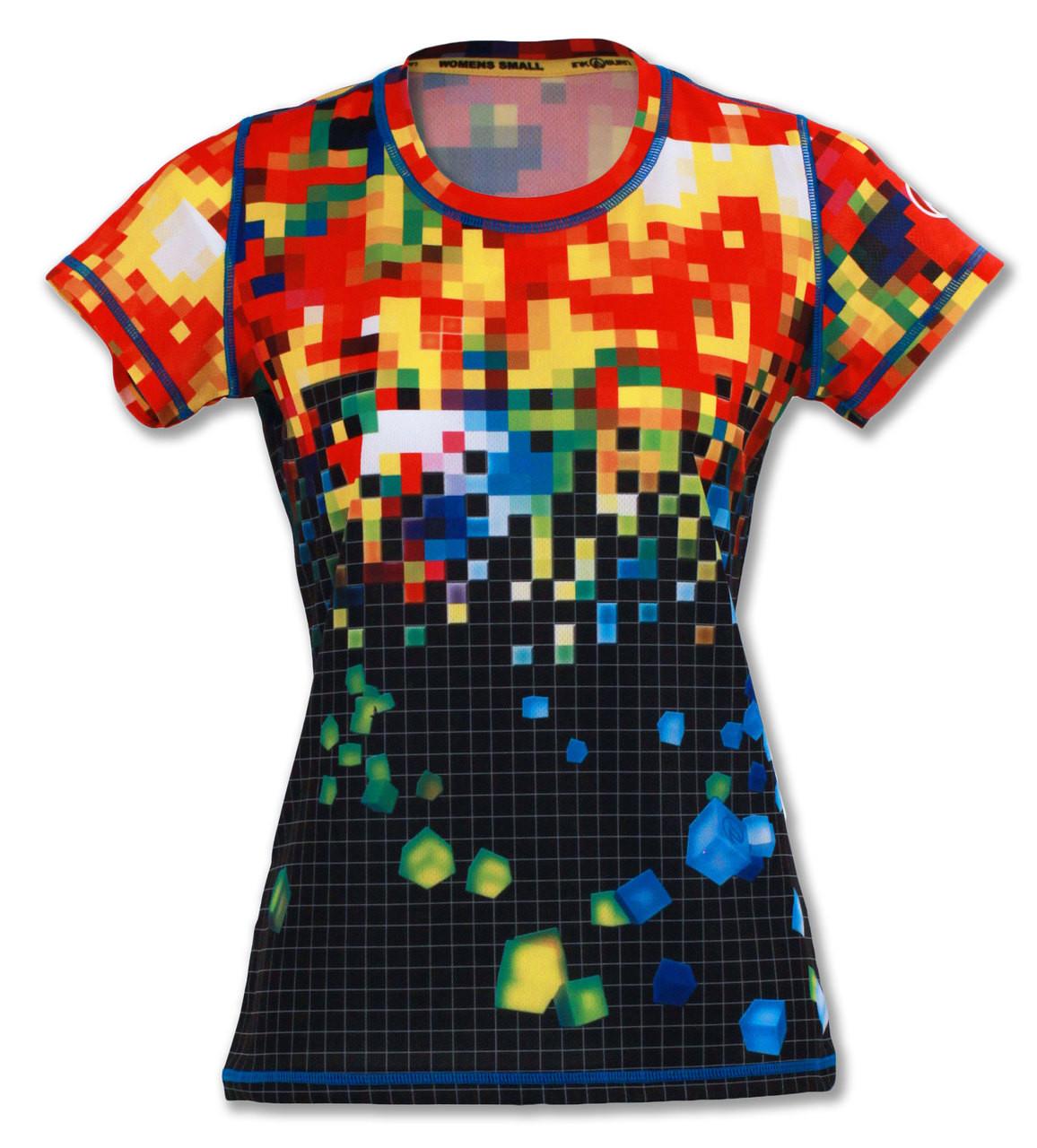 Womens Pixel Tech Shirt For Running Gym Crossfit