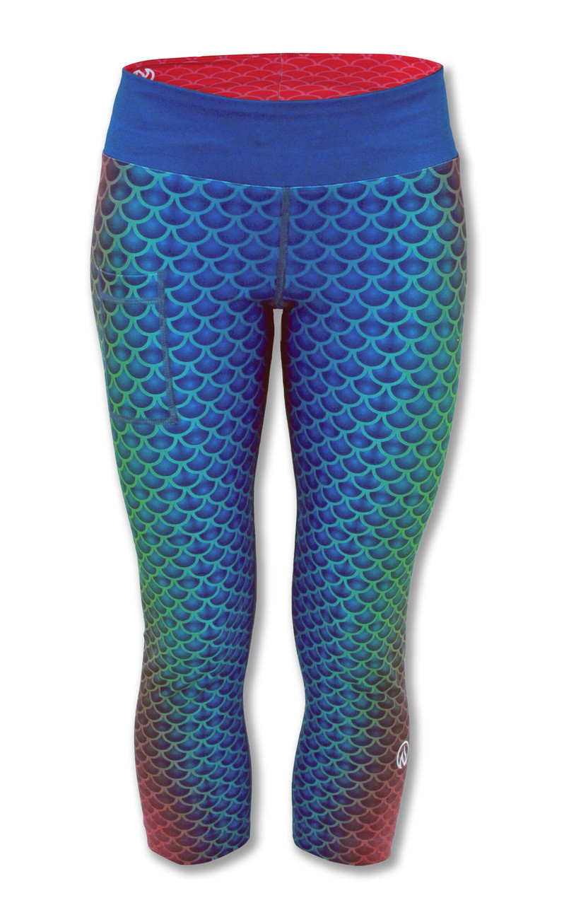 34b563ab8c676 INKnBURN Women's Mermaid Capris Front with Waistband ...