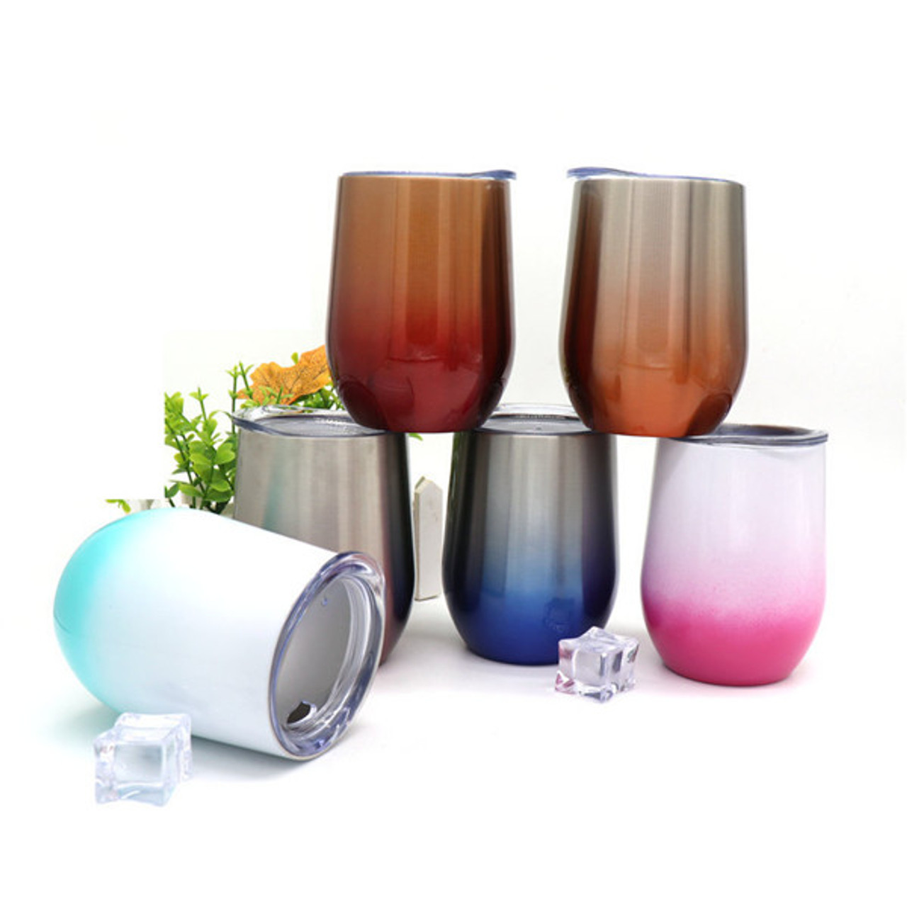 5c3b661978b Gradient color Eggshell cup vacuum insulated stainless steel wine tea glass