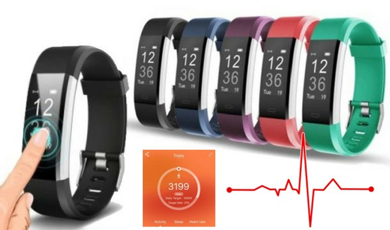 VeryFit Plus Pro Bluetooth Fitness Bracelet with Heart Rate Monitor - 5  Colours